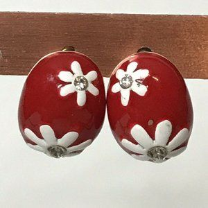 Red and White Painted Floral Earrings Pierced